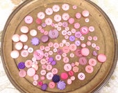 Large Lot of 112 Vintage Pink & Purple Buttons, Sets and Singles, Anchor Buttons, Pink Flower Buttons