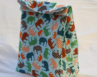 Fancy Elephants on Blue- Fully Insulated Lunch Bag Water and Mildew Resistant Interior-Brown Paper Bag Style