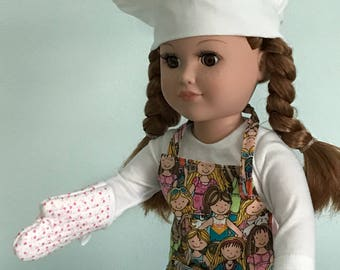 "3-piece Chef Outfit with Girlfriends-theme Apron, Chef Hat & matching Oven Mitt  - 18"" Doll (American Girl or equivalent)"
