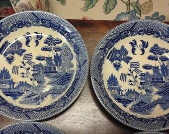Antique Set of 4 Blue Willow Salad Bowls