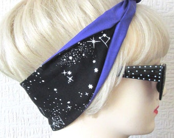 Constellation Hair Tie Print Rockabilly Head Scarf by Dolly Cool Astrology Space Occult Dark Arts Witch witchy