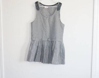 SALE // Vintage Black and White Checked Dress