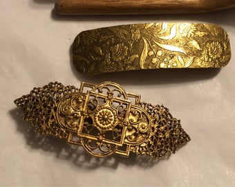 Vintage set of 2 boho Etruscan look hair clips, large brasstone etched filigree hair barrettes, hair accessories, hair clips