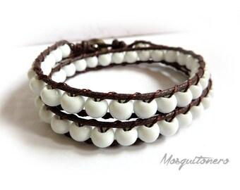 Ceramics bracelet, bracelet, bracelet, white beads, 6 mm, double wrap, gift, chan luu, style for him,