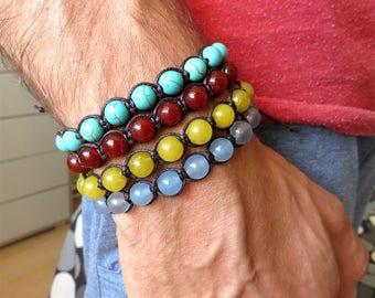 Bracciale uomo, stile tamashii,perle agata ,cordino in macrame,bracciale tibet,bracciale mala ,artigianale