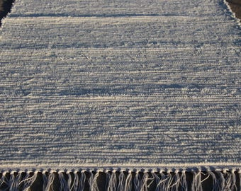 "Handmade rag rug Off White (cream) 25"" x 56"" (M)"