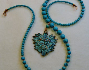 Green Man-turquoise and copper necklace, graduated, 25 3/4 inches or 65.5 cm
