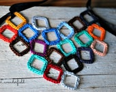 RESERVED FOR LEA - Tutti Frutti Crochet Necklace Multi Color Squares Bib Necklace Mosaic