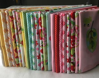 Hoo's in the Forest Out of Print Fat Quarter Bundle Riley Blake Kids Owls Frogs Trees FlowersQuilting Baby Pink piecesofpine