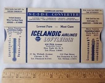 Vintage 1964 Icelandic Airlines Loftleidir American Metric Slide Converter