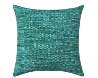 Teal Outdoor STUFFED Pillow, Remi Lagoon Throw Pillow, Teal Accent PIllow, Navy Teal Green Cushion, Turquoise Accent Pillow - Free Ship