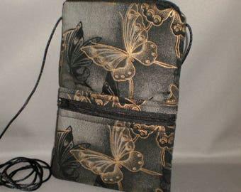 Butterfly - Smart Phone Purse - Passport Purse - Sling Bag - Hipster - Wallet on a String - Black - Bronze