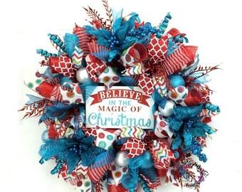 ON SALE Deco Mesh Christmas Wreath in Retro Christmas colors Red Turquoise Christmas Wreath, Holiday Wreaths, Believe Christmas Decor