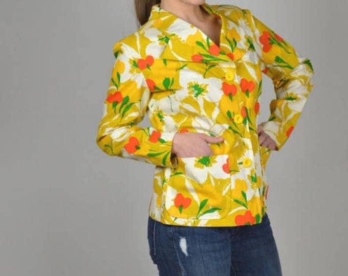 sale Vintage Jacket, 70s Jacket, Yellow Jacket, Boho Jacket, Floral Jacket, Casual Jacket, Short Jacket, Fitted Jacket, Women's Vintage Clot