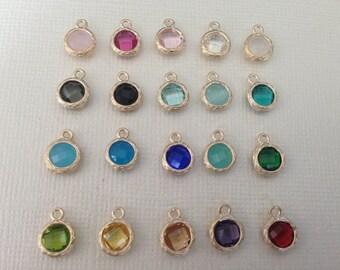 Gemstone Pendant Charm, Bezel Set Glass Gem, Gold Plated, Birthstone Pendant, 9.7x7.3 mm, gp17.mm wf gp ll wf