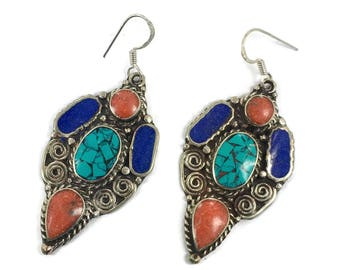 Turquoise Earrings, Lapis, Tibetan Nepal, Coral, Vintage Earrings, Inlaid Inlay, Tibet Silver, Boho Statement, Bohemian, Ethnic, Tribal, Big