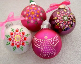 Personalize 4 pack pink white wine hand painted glass Christmas tree ornaments glow after dark holiday decor last minute gift ideas mandala