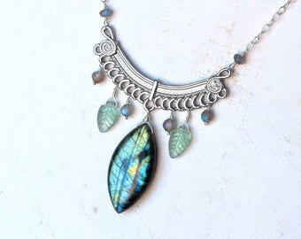 "Labradorite Necklace, Fluorite Necklace, Sterling Silver - ""Galadriel"" by Circe's House on Etsy"