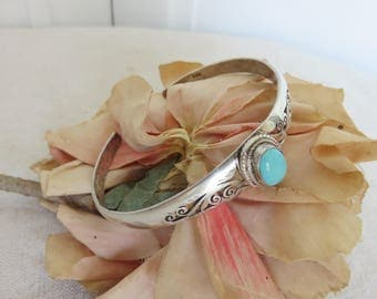 Gorgeous Vintage Sterling Silver & Turquoise Bangle, 925 Silver Boho Chic Bracelet, Pierced Scrolling Decor, Cabochon Turquoise Stone