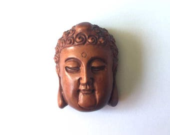 Buddha Ojime Boxwood | Hand Carved Focal Bead Pendant Chinese | Signed Buddha Head | Flat Back 26mm | Ethnic Asian Tribal Jewelry Finding