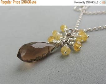 SALE Gemstone Necklace, Gemstone Clusters, Artisan Jewelry, Silver Necklace, Minimalist Jewelry, Urban Chic Jewelry, Whisky Quartz Pendant