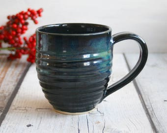 Large Stoneware Mug with Shiny Black and Blue Green Glazes Handmade Stoneware Coffee Cup 16 oz. Made in USA Ready to Ship