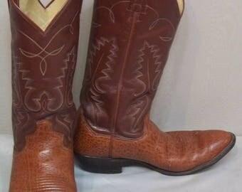 SUMMER SALE Vintage Mens Leather Sanders Cowboy Western Boots 8 1/2D Womens 10 1/2