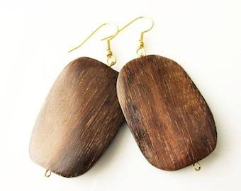 Large Lightweight Rectangle Dark Brown Wood Dangle Earrings | Hippie Boho Style Jewelry for Women | Earthy Rustic Earrings | Everyday Wear