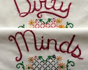 Dirty Minds, Pillowcases, Hand embroidered, Boho bedroom, Prince, Cottage, Cabin, Sexy gift, Girlfriend gift, Mashup, Repurposed decor