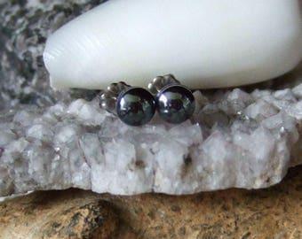 Longer Posts Shiny 6mm Hematite Stud Earrings Titanium Post and Clutch Hypo Allergenic Handmade in Newfoundland Yang