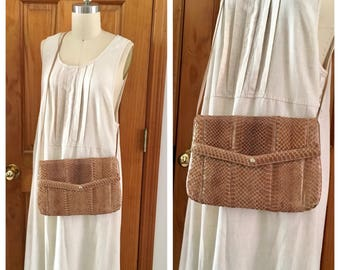 Vintage STORERIA pale brown snake skin bag / 1970 Snake skin cross body bag