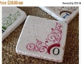 XMASINJULYSale Monogram Coasters - Swirl Design - Housewarming Gift - Absorbent Stone Drink Holders - Set of 4 Tiles