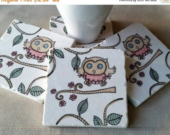 XMASINJULYSale Owl Lover Gift - Woodland Tile Coasters - Mother's Day Gift - Opal the Owl Design - Absorbent Stone Drink Holders