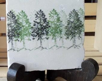 XMASINJULYSale Pine Tree Tile Kitchen Trivet - Northwoods Rustic Home Decor