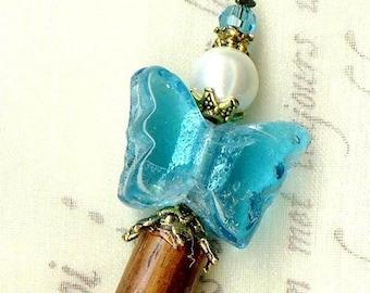 Butterfly Aqua HS043 White Pearl hair stick