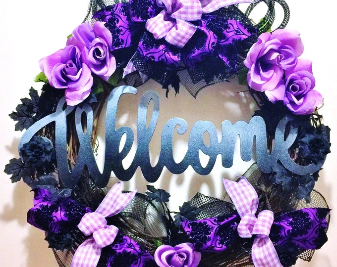 Welcome Gray Purple Black Roses Leaves - Welcome Door Grapevine Wreath