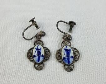 Vintage Delft Holland windmill filigree earrings screw back