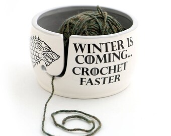 CROCHET Game of Thrones,Winter is coming - yarn bowl, GOT fan art,  crochet supplies - yarn storage - large ceramic yarn bowl