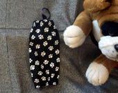 Small Pet Bag Holders, White Paws Black Elastic Openings