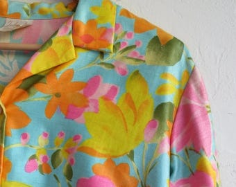 40% OFF CLEARANCE SALE The Vintage Neon Floral Print Button Up Blouse Shirt