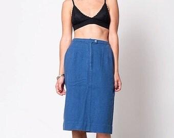 40% OFF The Vintage Blue Linen Pencil Skirt