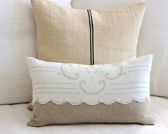 Cottage Style Pillow Cover - Burlap Linen - Vintage Embroidered Linen - Shabby Chic - Farmhouse - Decorative Pillow - Natural/White - SWEET!