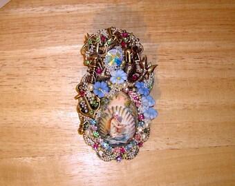 Mermaids Treasure Pin Brooch Pendant Antique Brass OX By C Erbsland OOAK Signed