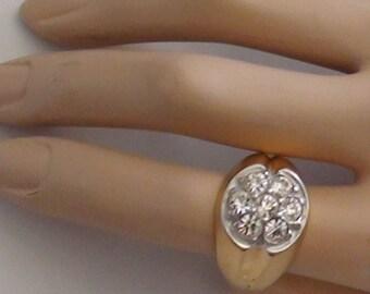 Vintage  Cluster  RING 18Kt Gold Plated over Sterling Cz  Cluster Size 11 Sparkle Glam Impressive Design Statement Ring Vargas Vermeil