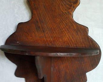 Vintage Small Half Moon Wooden Knick Knack Shelf