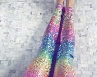 XMAS in July 25% off SALE rainbow leggings, pastel leggings, yoga pants women, womens yoga leggings, womens yoga pants, sparkly leggings, un