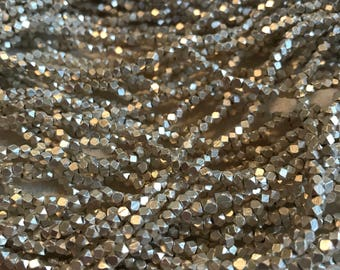 Faceted silver-plated copper nugget beads, rustic, 2-2.5 mm