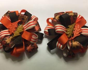Fall Hair Bows - Harvest Hair Bows - Thanksgiving Hair Bows