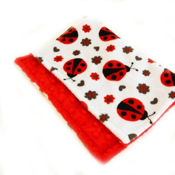 Red Ladybug Baby Lovey, Mini Minky Baby Blanket, Girl Personalized Baby Blanket, Minky Burp Cloth, Tag Blanket, Baby Gift, security Blanket