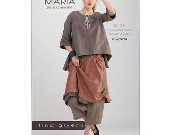 MARIA Shirt & Skirt TG- A7079 by Tina Givens Lagenlook - Sewing Pattern- NEW!